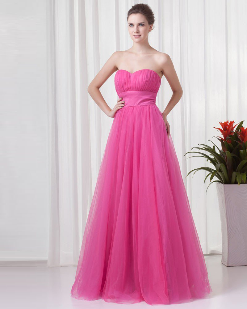 Charming Sweetheart Floor Length Pleated Tulle Women Prom Dress
