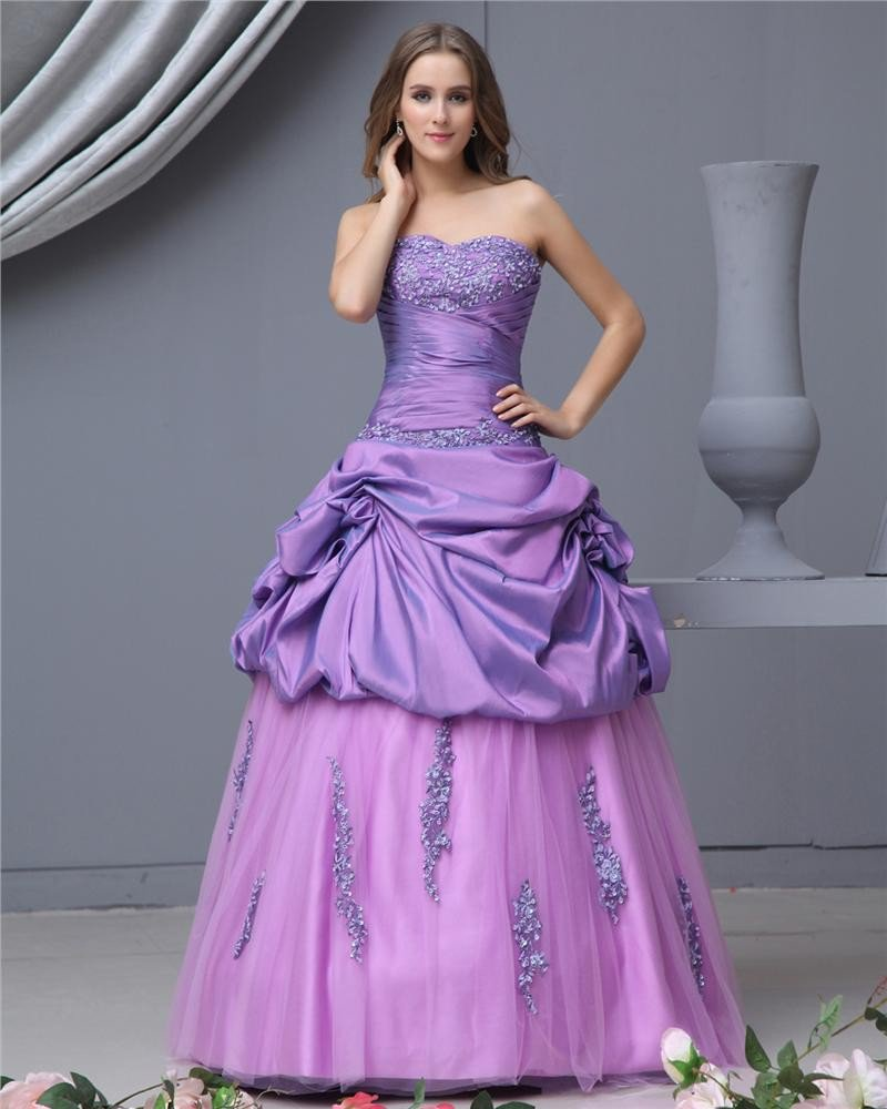 Ball Gown Taffeta Satin Organza Beading Sweetheart Floor Length Quinceanera Prom Dresses