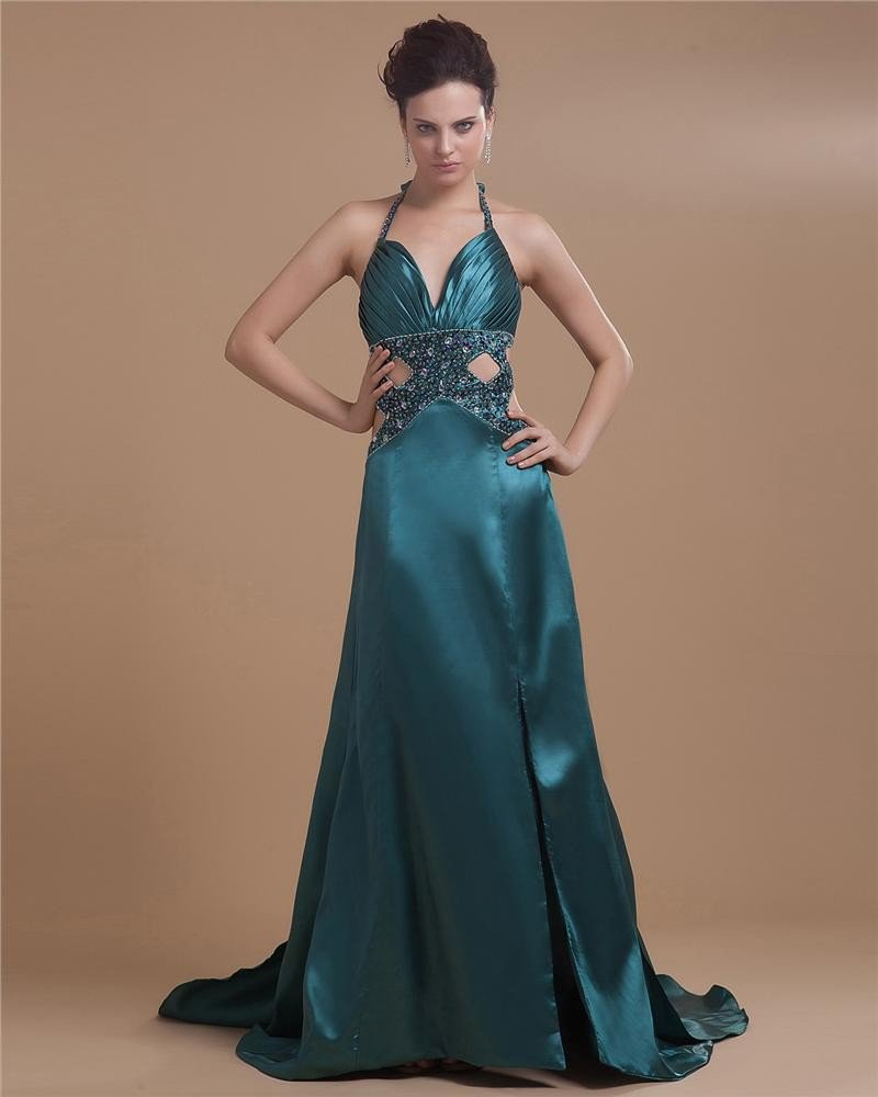 Satin Beading Ruffle V-Neck Prom Dress
