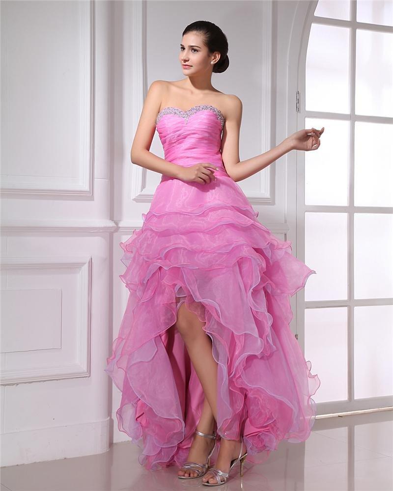 Fashion Organza Ruffle Beaded Sweetheart Asymmetrical Prom Dress
