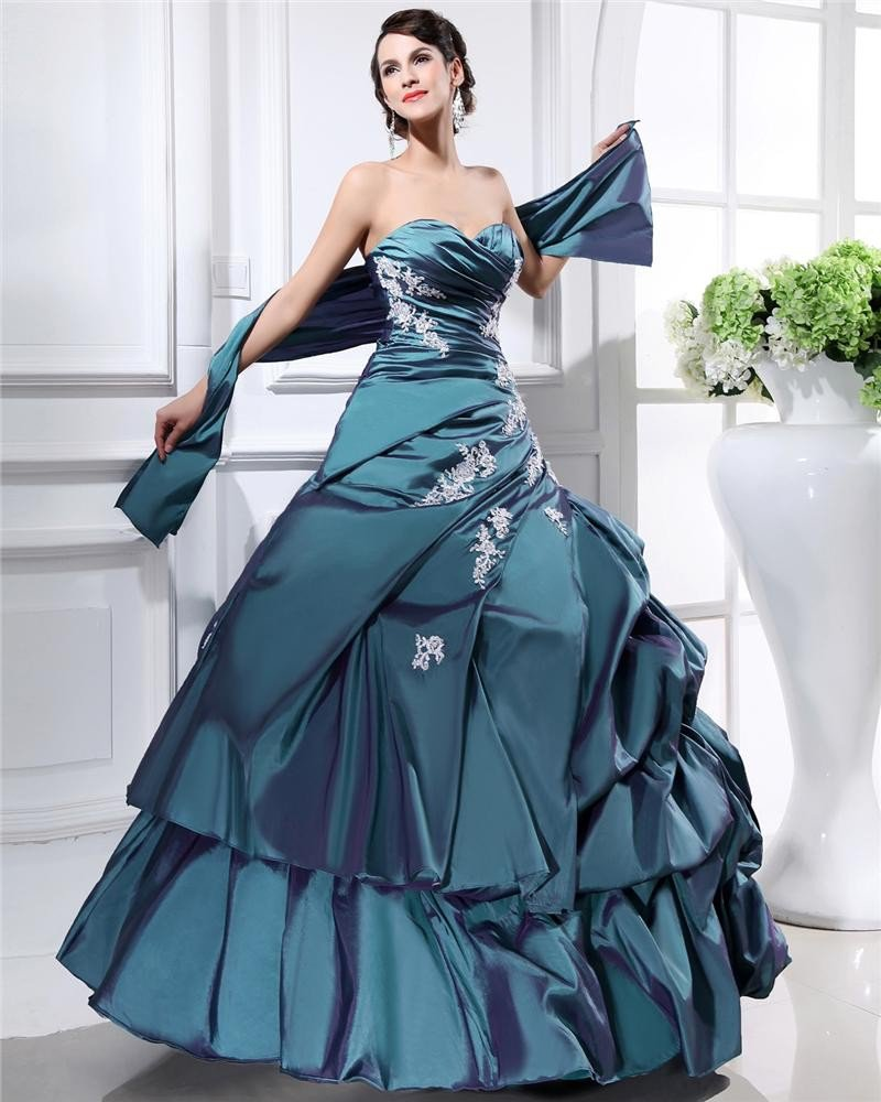 Ball Gown Sweetheart Sleeveless Floor Length Embroidery Taffeta Quinceanera Prom Dress
