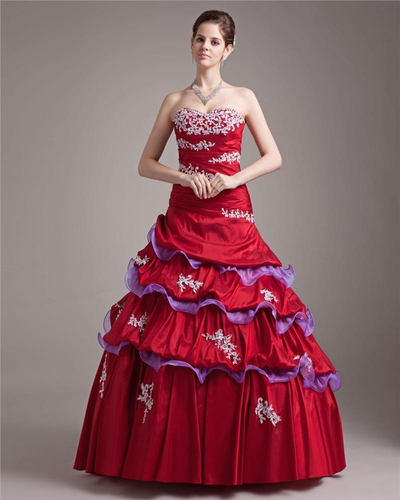 Ball Gown Taffeta Organza Sweetheart Applique Bead Floor Length Quinceanera Prom Dresses