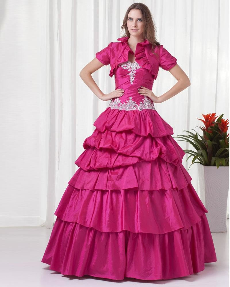Ball Gown Graceful Beading Ruffle Sweetheart Floor Length Taffeta Quinceanera Prom Dress