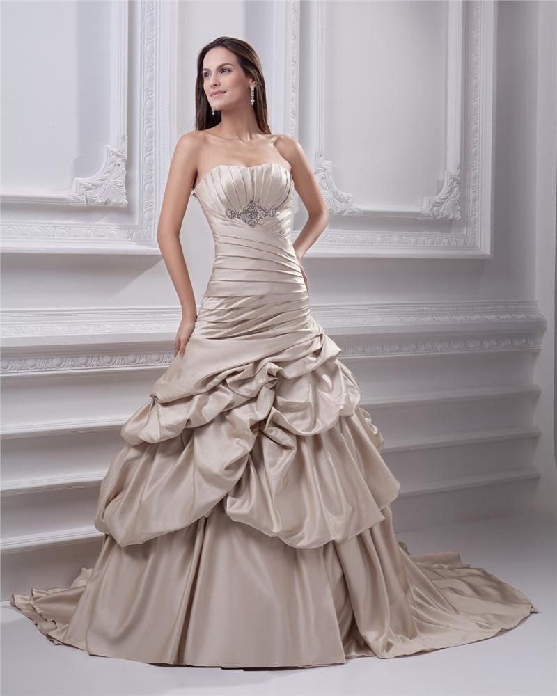 Ball Gown Sweetheart Ruffle Beading Floor Length Satin Quinceanera Prom Dress