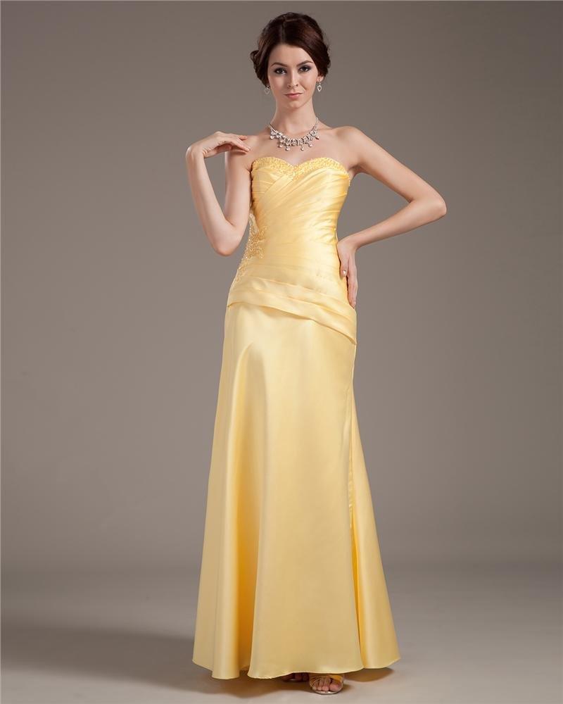 Taffeta Sweetheart Beading Floor Length Prom Dresses