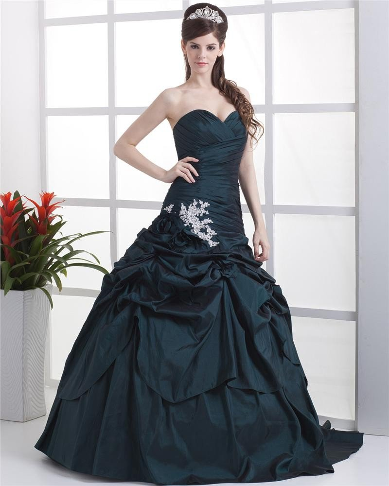 Ball Gown Sleeveless Flowers Embroidery Ruffles Applique Sweetheart Floor Length Quinceanera Prom Dr