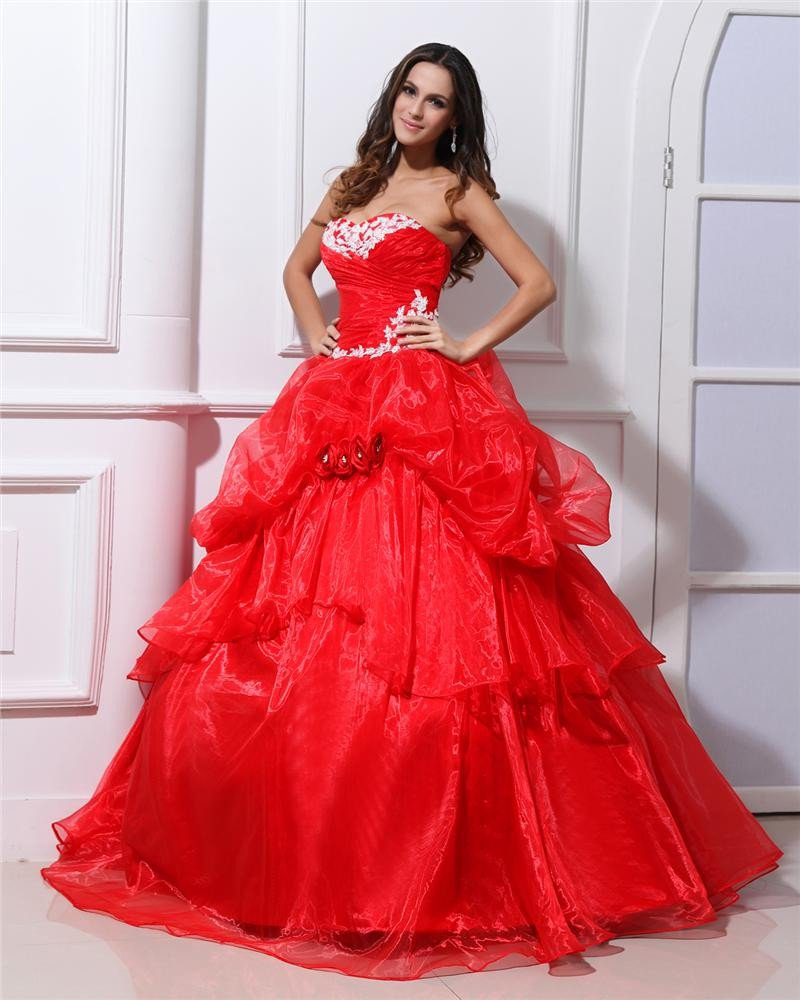 Ball Gown Organza Sweetheart Bead Handmade Flower Floor Length Quinceanera Prom Dresses