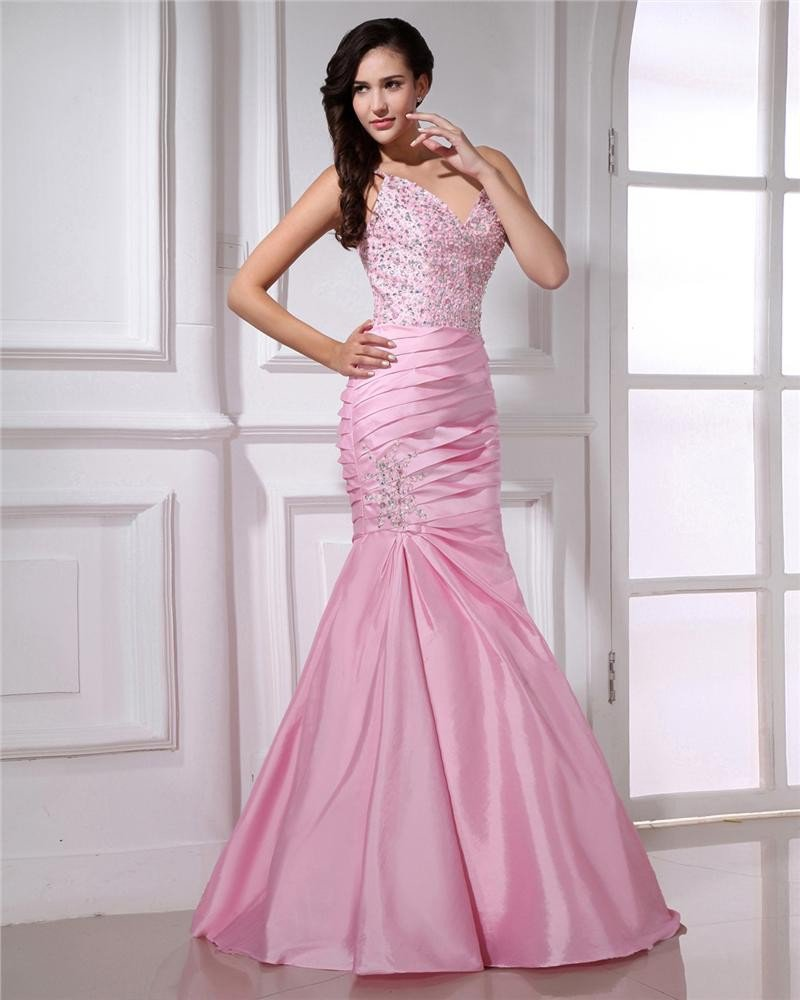 Spaghetti Straps Floor Length Pleated Taffeta Beading Women Mermaid Prom Dresses