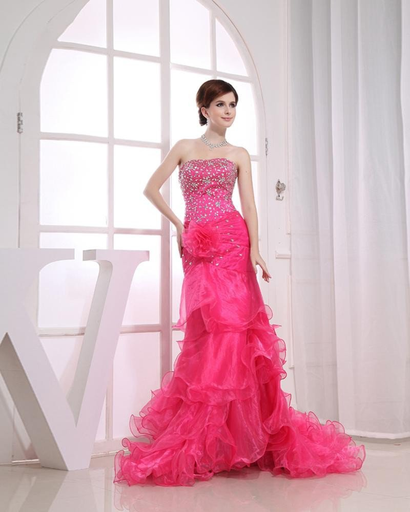 Organza Beading Strapless Ruffle Sleeveless Backless Flower Court Train Tiered Prom Dress