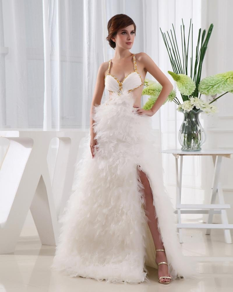 Ostrich Hair Chiffon Beading Spaghetti Straps Sleeveless Backless Floor Length Slit Prom Dress