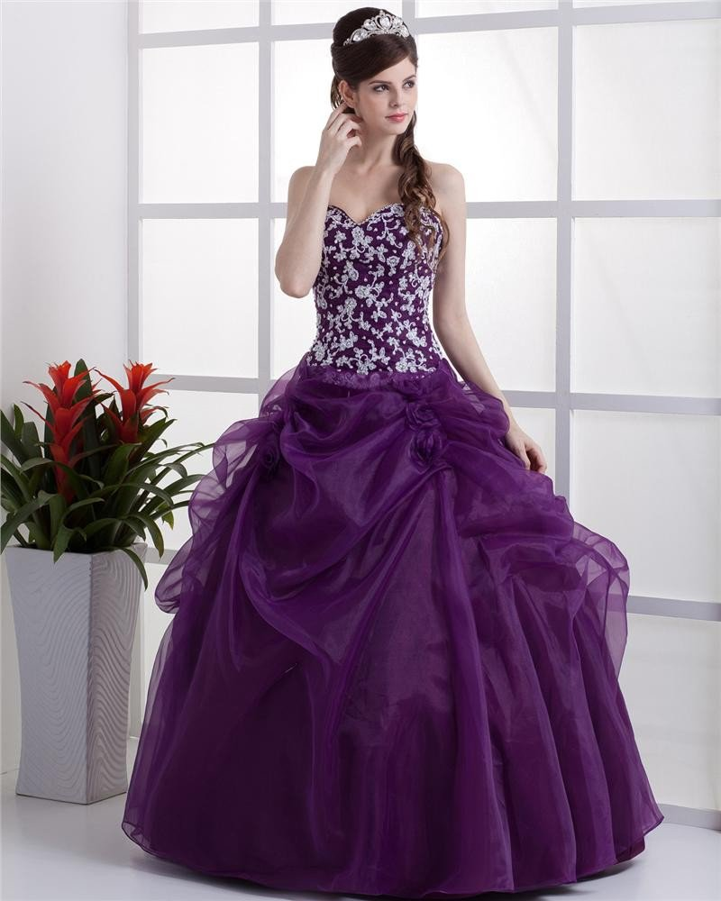 Ball Gown Sleeveless Yarn Flowers Embroidery Ruffles Applique Sweetheart Floor Length Quinceanera Pr