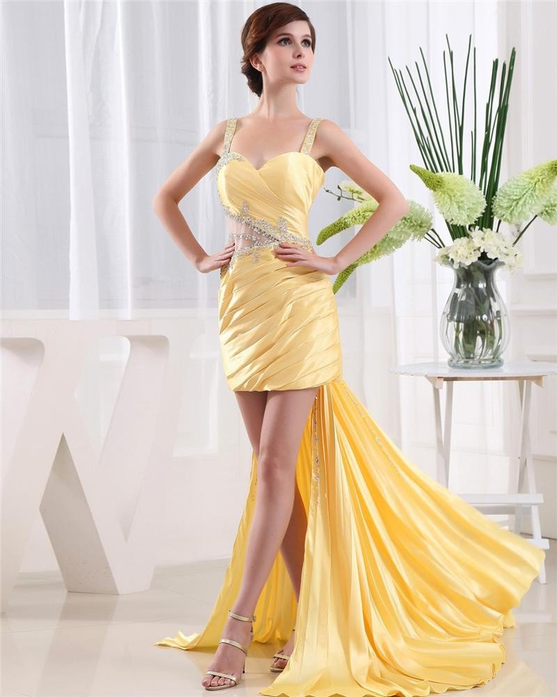 Shouder Straps Sleeveless Backless Beading Pleated Asymmetrical Taffeta Woman Prom Dress