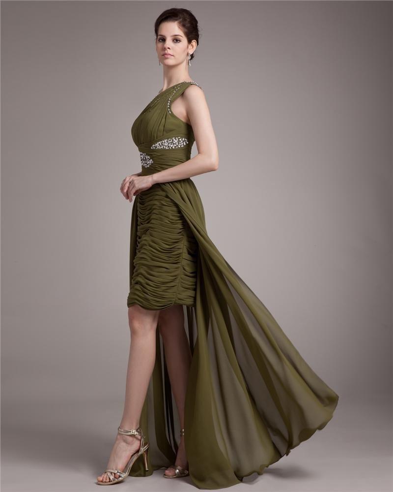 Elegant Sloping Ruffle Beading Asymmetrical Chiffon High Low Prom Dress