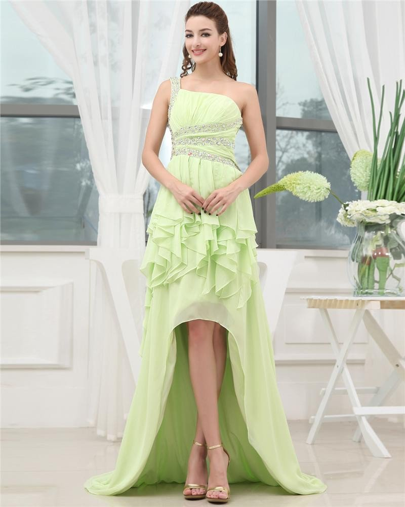 One Shoulder Sleeveless Belt Ruffle Beading Asymmetrical High Low Chiffon Woman Prom Dress