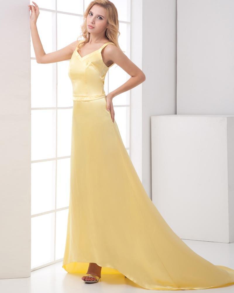 Fashion Charmeuse Shoulder Straps Sleeveless Floor Length Prom Dress