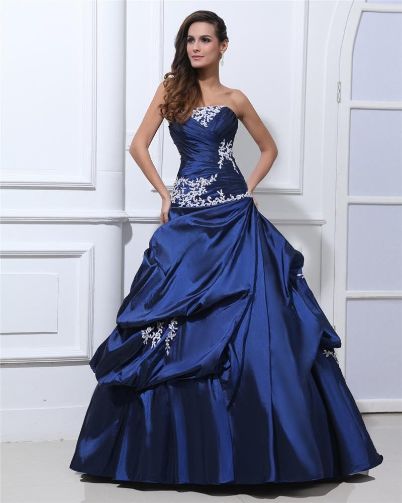 Ball Gown Applique Pleated Taffeta Beading Strapless Floor Length Quinceanera Prom Dresses