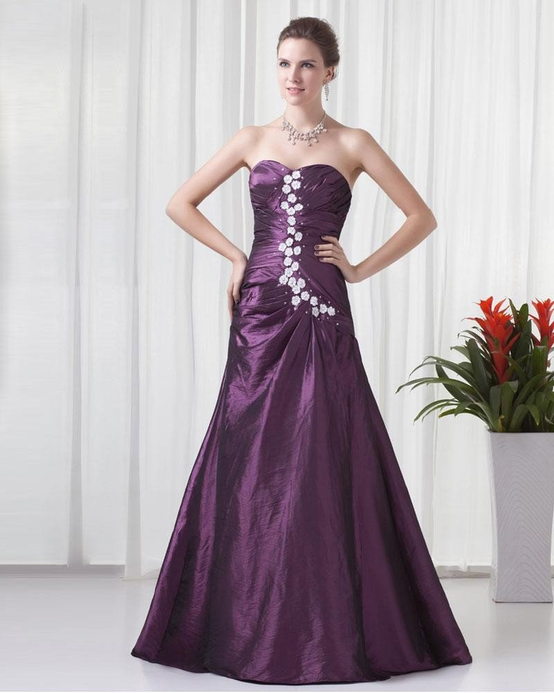 Sweetheart Floor Length Applique Beading Pleated Taffeta Women Prom Dress
