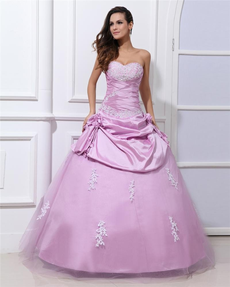 Ball Gown Taffeta Gauze Applique Flower Sweetheart Sleeveless Backless Floor Length Quinceanera Prom
