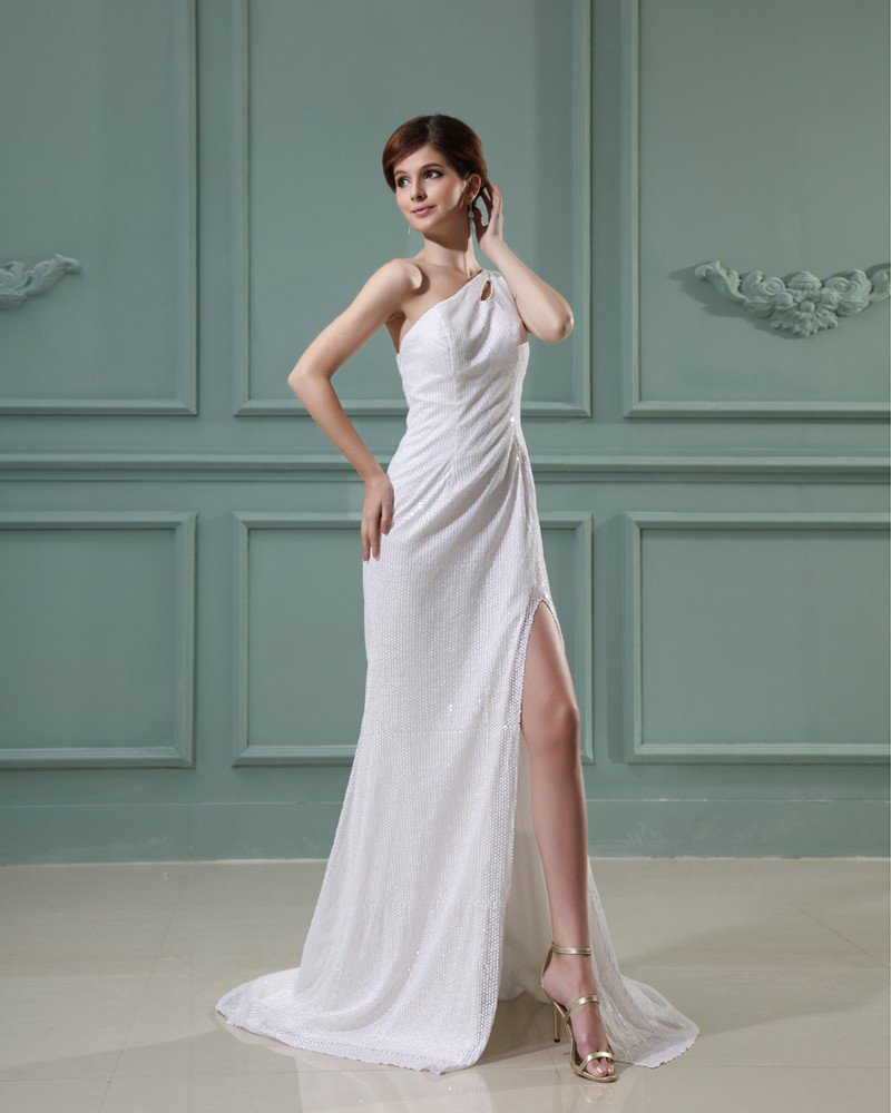 Sloping Neckline Sleeveless Floor Length Paillette Silk Woman Prom Dress