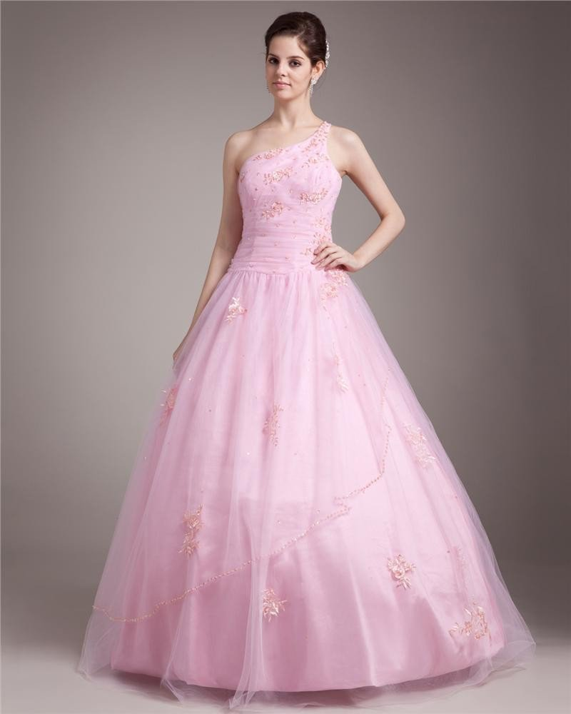 Ball Gown One Shoulder Floor Length Tulle Prom/Quinceanera Prom Dresses