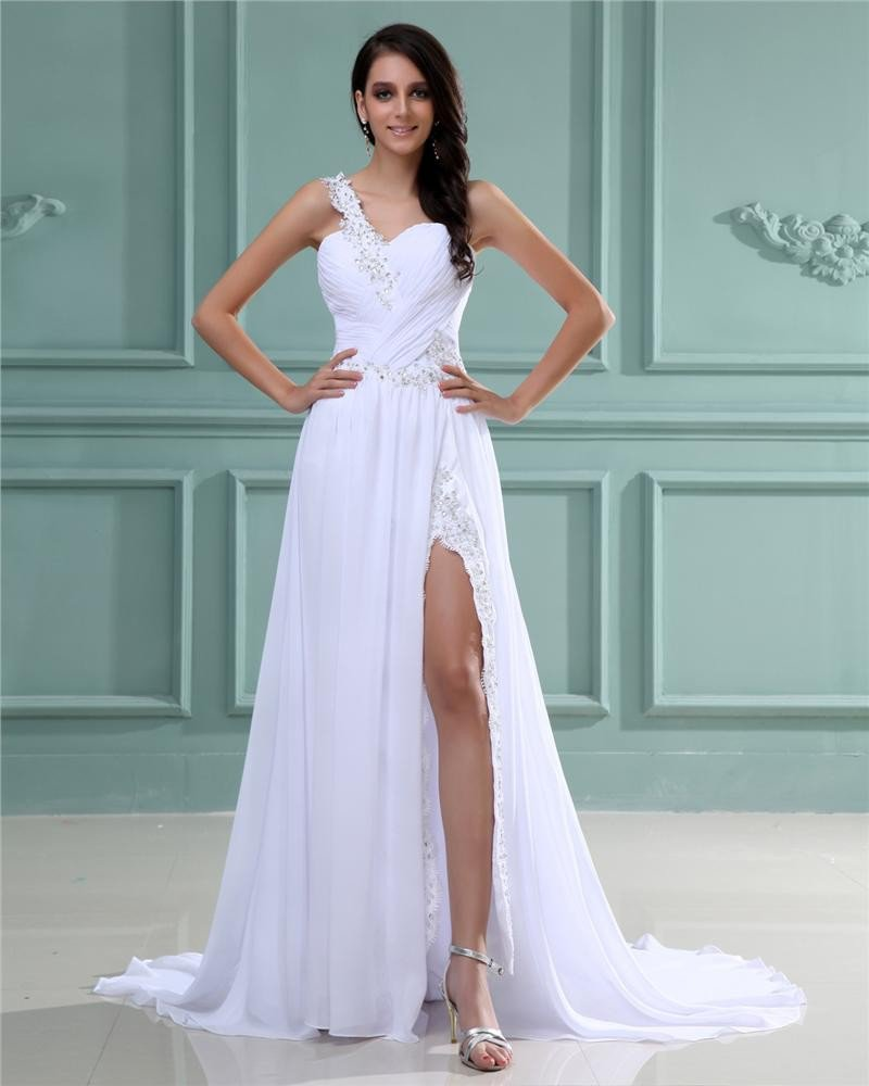 Sloping Chiffon Satin Pleated Floor Length Prom Dresses