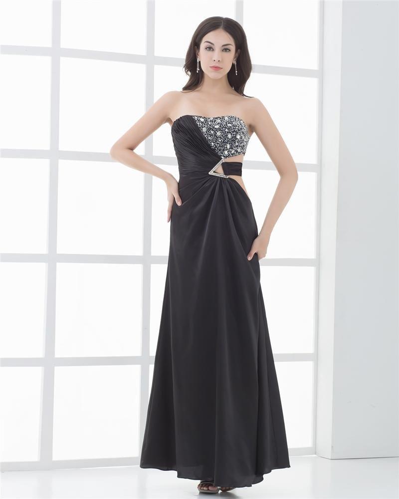 Beading Pleated Chiffon Pendant Strapless Ankle Length Women Prom Dresses