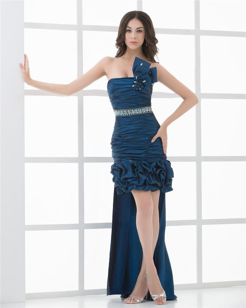 Taffeta Beading Pleated Strapless Thigh Length Panel Train Women Prom Dress