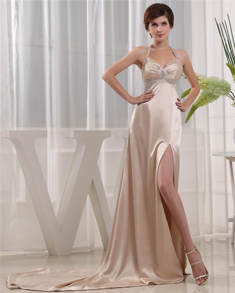 Halter Zipper Sleeveless Floor Length Beading Satin Woman Prom Dress