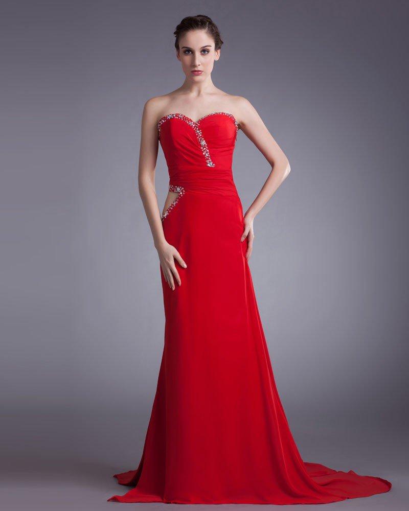 Chiffon Beading Sweetheart Court Train Pleated Prom Dress