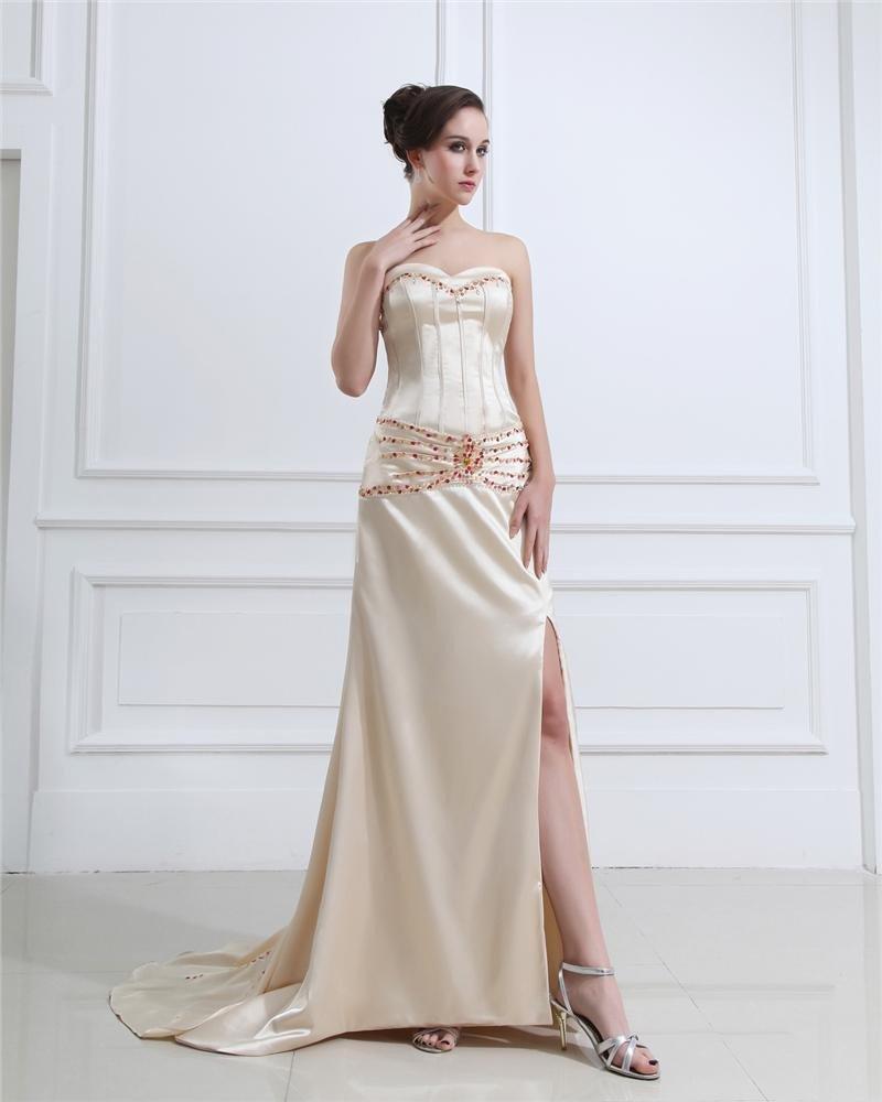 Charmeuse Ruffles Applique Beads Sweetheart Floor Length Prom Dress