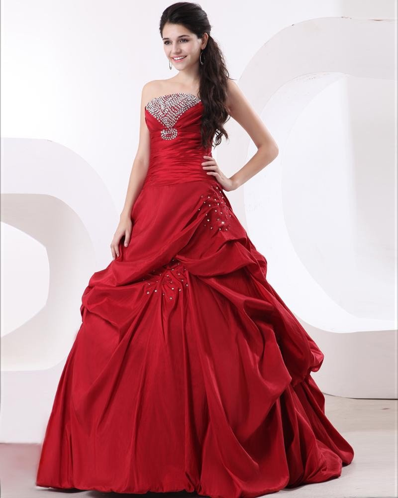 Ball Gown Taffeta Ruffle Strapless Beading Floor Length Quinceanera Prom Dresses