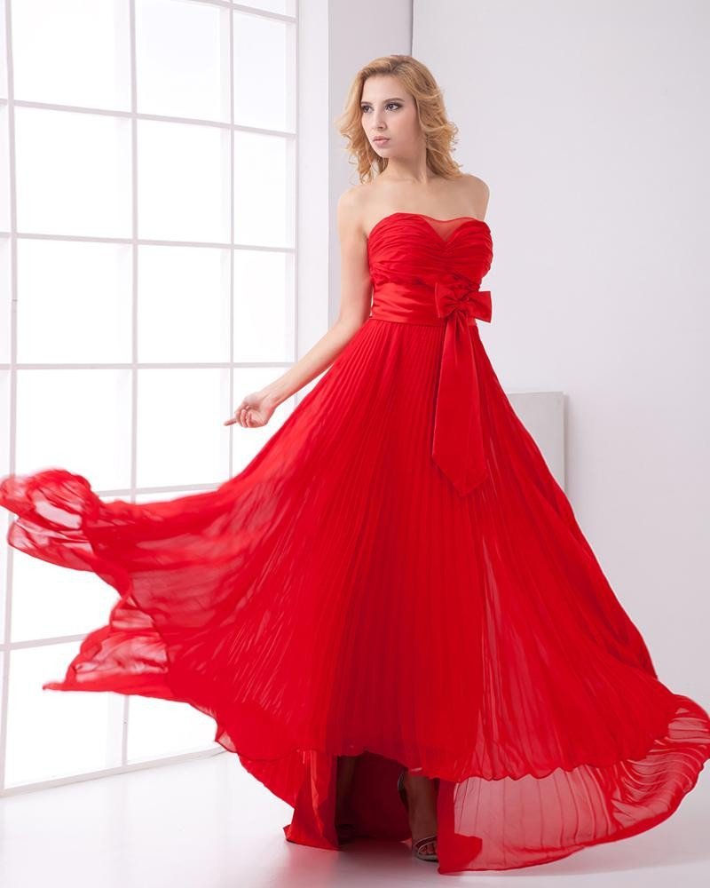 Fashion Chiffon Pleated Bowknot Sweetheart Floor Length Prom Dress