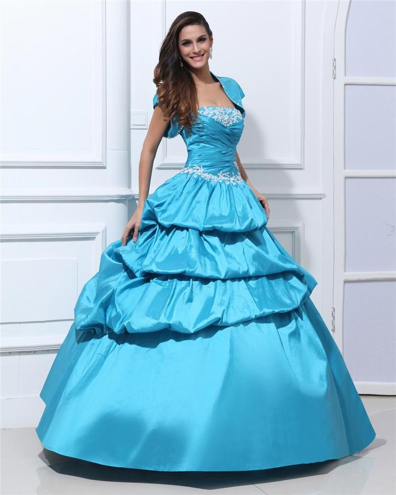 Ball Gown Strapless Taffeta Beading Ruffle Floor Length Quinceanera Prom Dresses