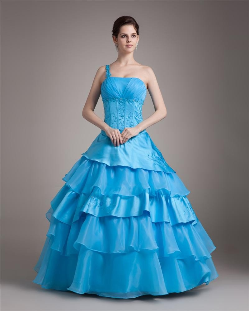 Ball Gown Organza Embroidery Beading Ruffle One Shoulder Floor Length Quinceanera Prom Dresses