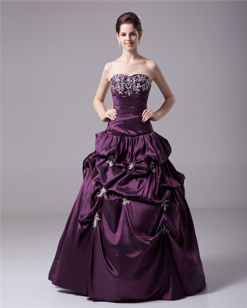Ball Gown Taffeta Ruffle Beading Sweetheart Floor Length Quinceanera Prom Dresses