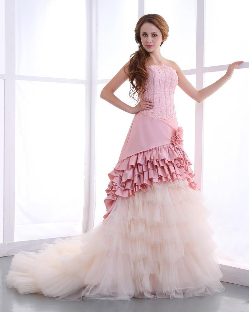 Taffeta Beading Ruffles Sweep Mermaid Prom Dresses