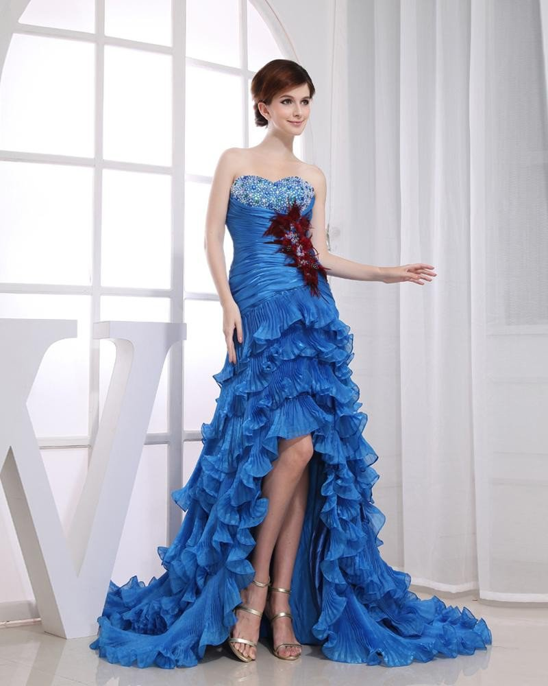 Beadings Sweetheart Ruffle Feather Sleeveless Backless Zipper Court Train Asymmetrical Tiered Prom D