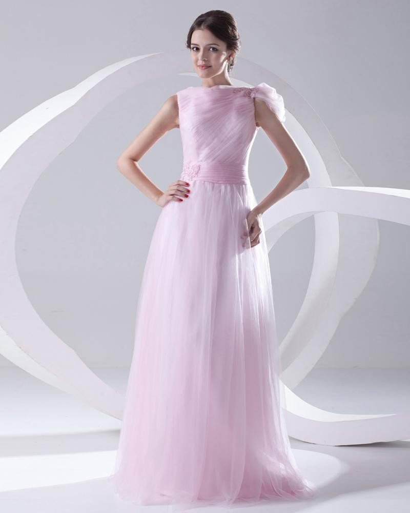 Fashion Organza Pleated Applique Boat Neck Sleeveless Floor Length Prom Dress