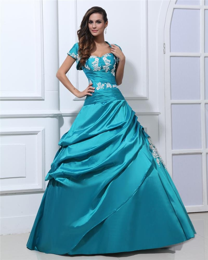 Ball Gown Satin Beads Applique Ruffles Sweetheart Floor Length Quinceanera Prom Dresses