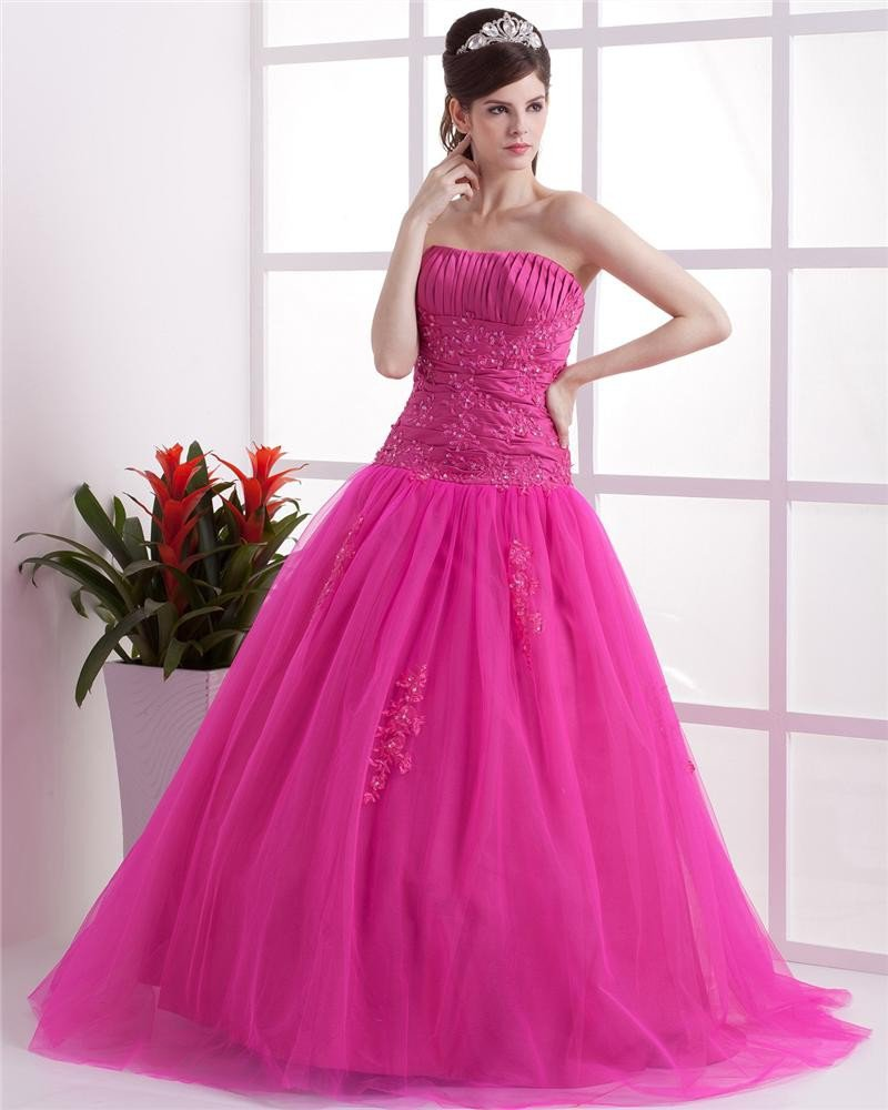 Ball Gown Sleeveless Mesh Embroidery Ruffles Applique Sweetheart Floor Length Quinceanera Prom Dress