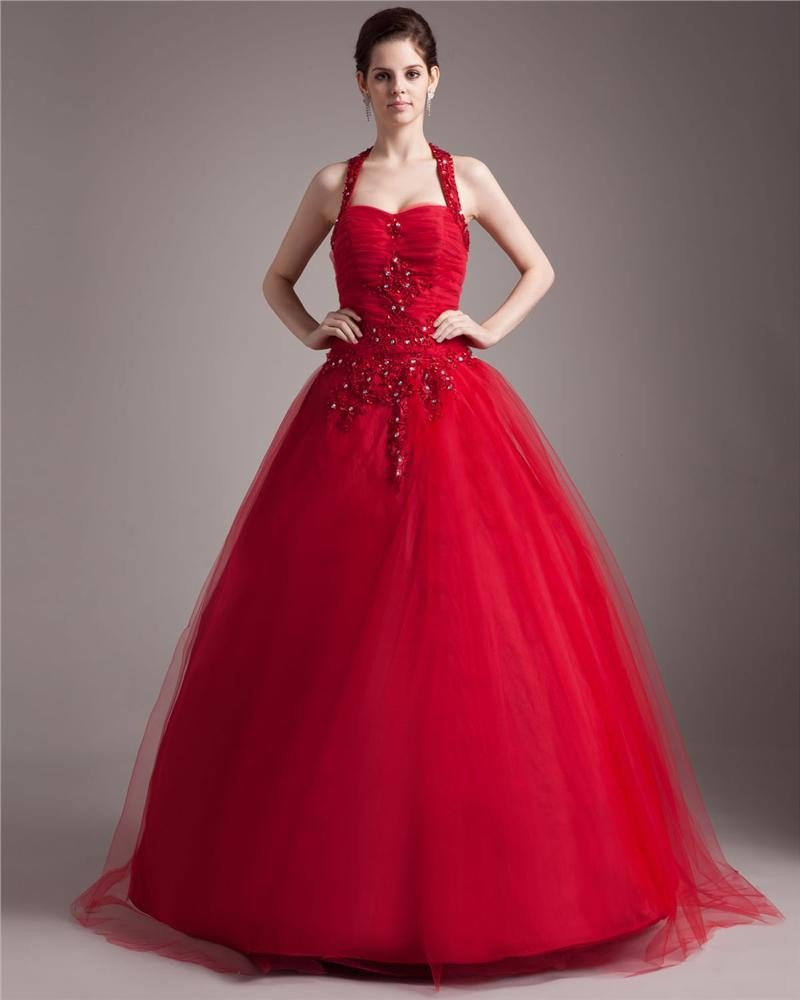 Ball Gown Sweetheart Tulle Applique Beading Floor Length Quinceanera Prom Dresses
