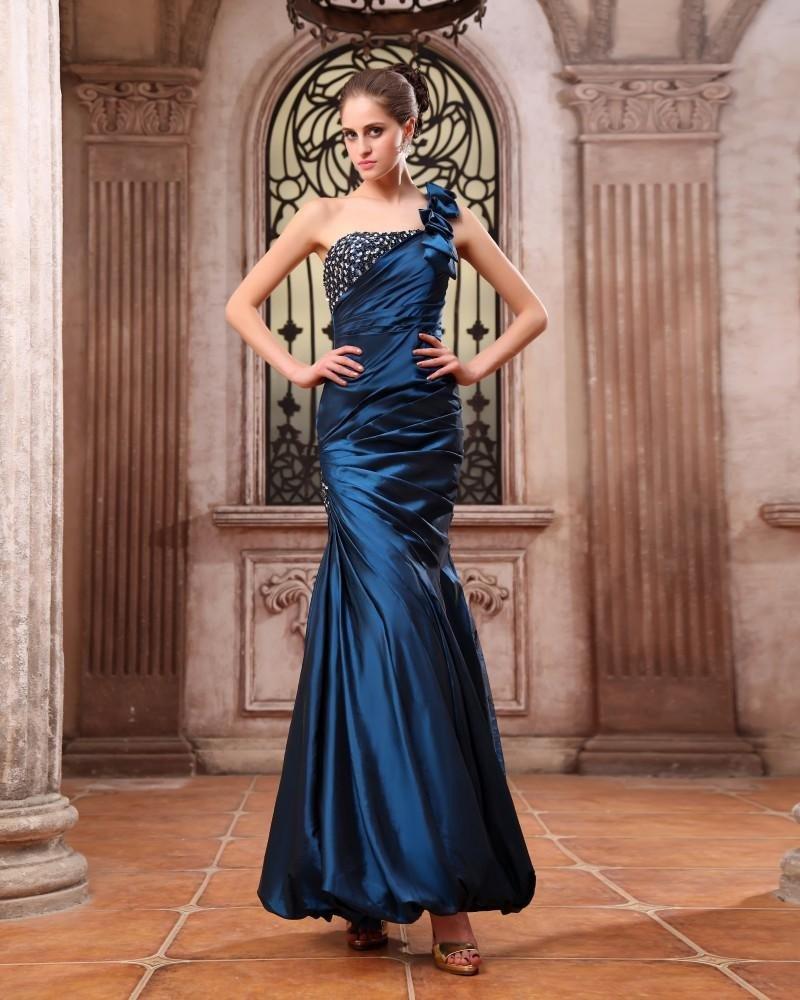 Sleeveless Taffeta Beading Ruffles One Shoulder Long Prom Dresses