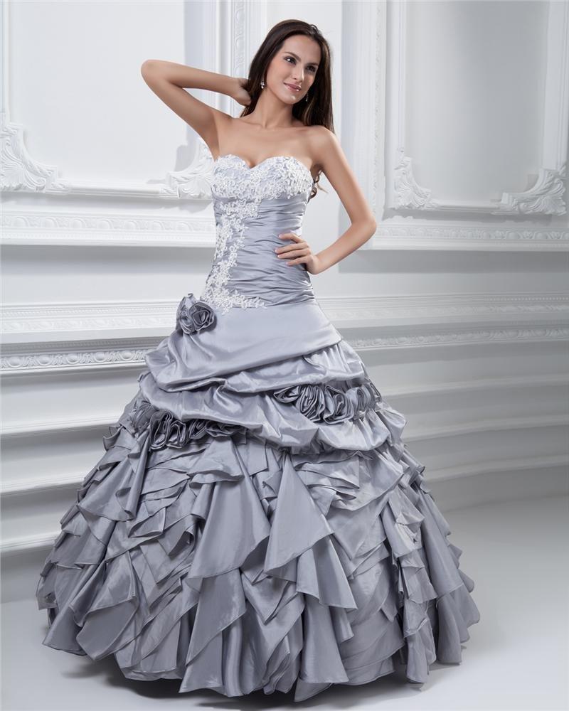 Ball Gown Sweetheart Ruffle Beading Taffeta Floor Length Quinceanera Prom Dress