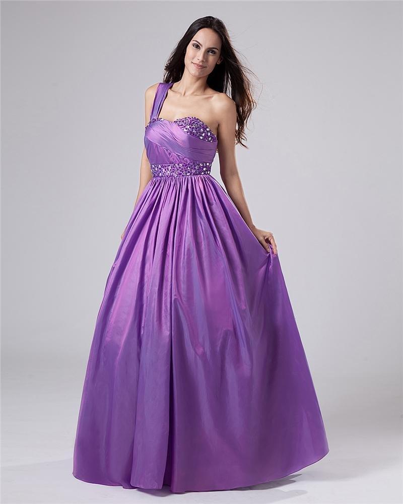Taffeta One Shoulder Beading Ruffles Sweetheart Floor Length Prom Dresses