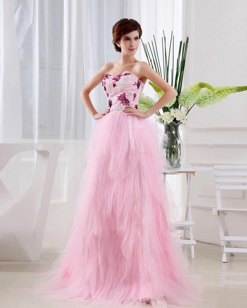 Satin Gauze Sequins Flower Sweetheart Sleeveless Backless Floor Length Tiered Prom Dress