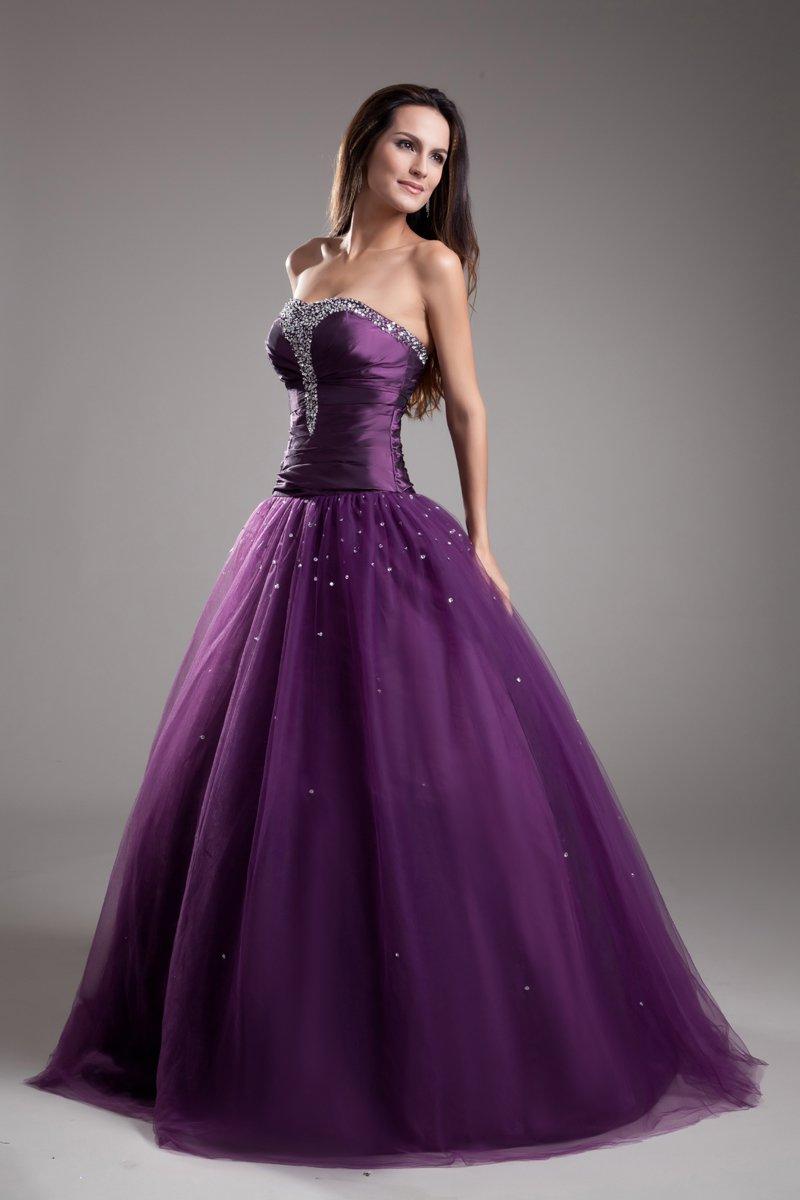 Ball Gown Custom Strapless Floor Length Beading Taffeta Prom Dresses