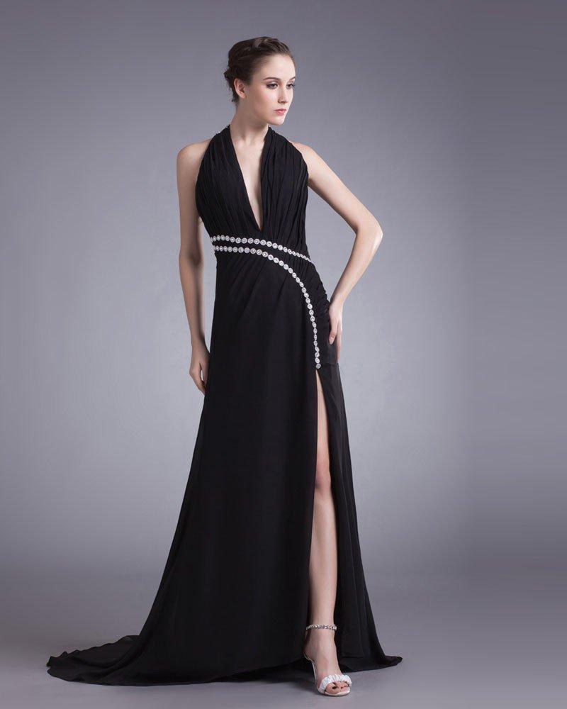 Chiffon Beading Halter Court Train Slit Prom Dress