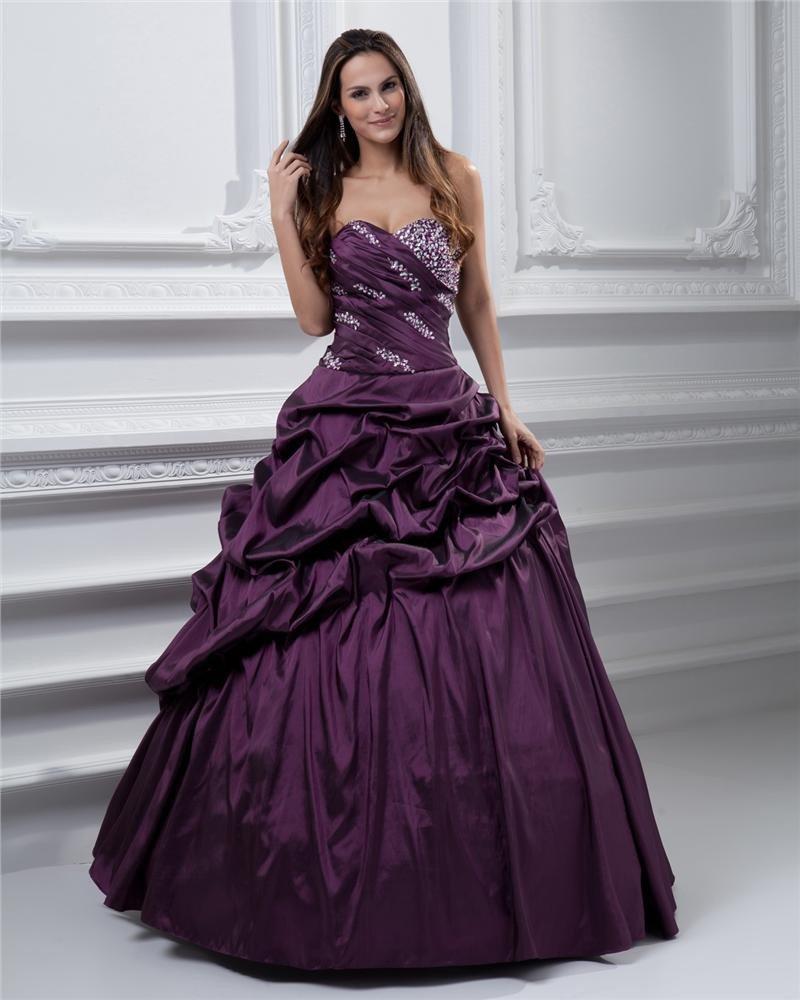Ball Gown Satin Sweetheart Bead Handmade Flower Drape Floor Length Quinceanera Prom Dresses