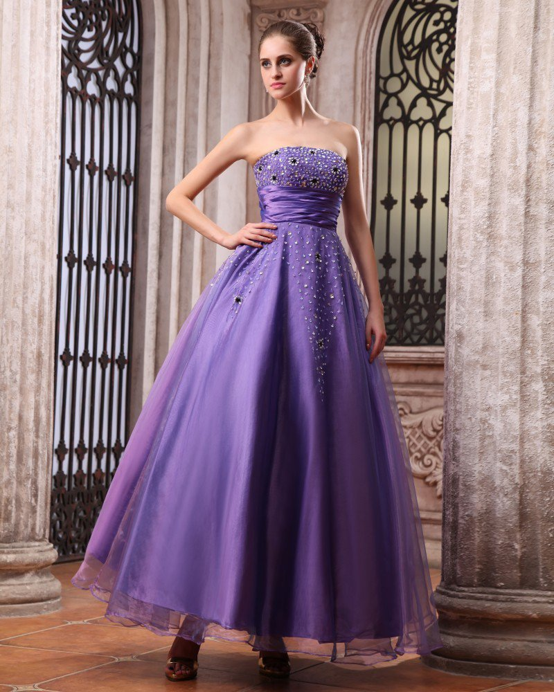 Sleeveless Satin Organza Beading Strapless Floor Length Prom Dresses