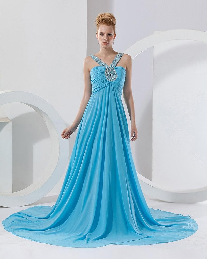 Chiffon Ruffle Beading V Neck Floor Length Celebrity Prom Dress